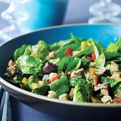 Warm Chickpea, Red Pepper, and Spinach Salad with Harissa Recipe