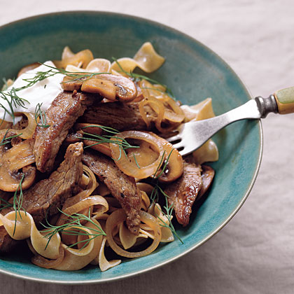 Beef Stroganoff with Yogurt and Dill