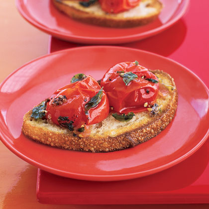 Cherry Tomato Toasts RecipeThere's no need to spend all your time or money on an appetizer. Keep it simple with this easy and delicious first course that's basically bread, olive oil and tomatoes with a sprinkling of fresh herbs. This recipe makes 4 servings, but it's an easy recipe to halve.Per serving: $2.20