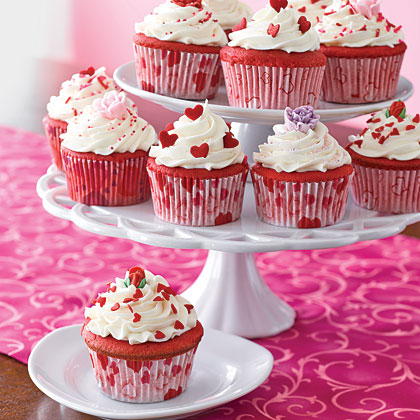 ... red velvet layer cake into cupcakes and decorate with candy hearts red