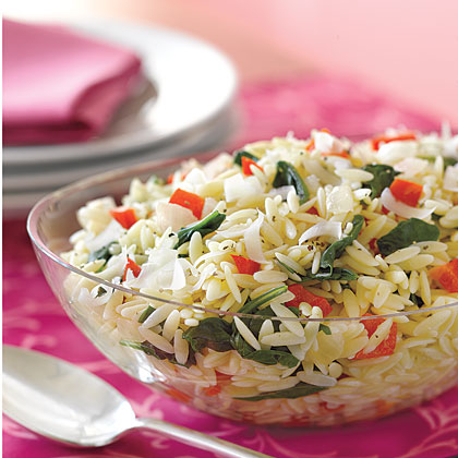 Orzo with Spinach and Red PeppersRecipe