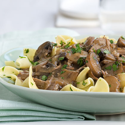 Beef and Mushrooms With Egg Noodles