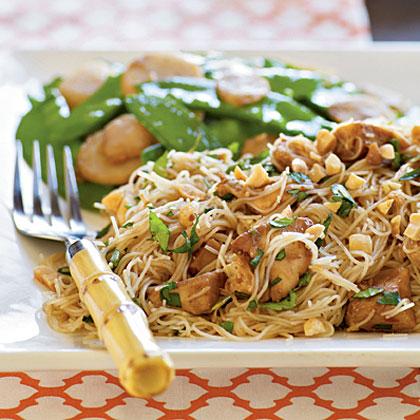 Asian chicken over vermicelli