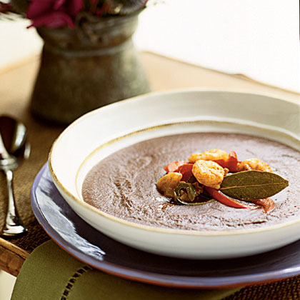 Black Bean Bisque with Rock Shrimp Escabèche Recipe