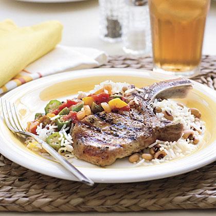 Grilled Basil-and-Garlic Pork Chops