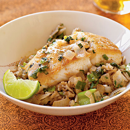 Halibut with Coconut–Red Curry Sauce