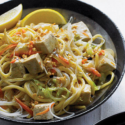Stir-fried Thick and Thin Noodles with Vegetables and Tofu (Pancit ...