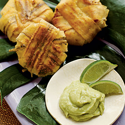 Plantain-wrapped Crab Cakes with Avocado Aïoli