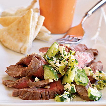 <p>Flank Steak with Cucumber-Pepperoncini Relish</p>
