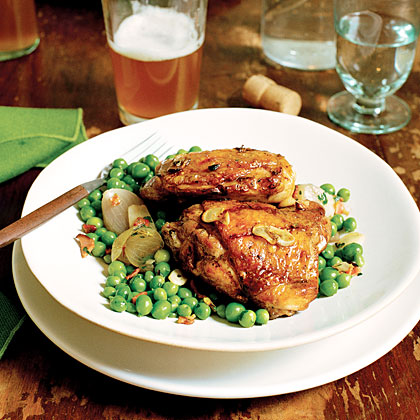 Grilled Chicken Thighs with Peas and Shallots