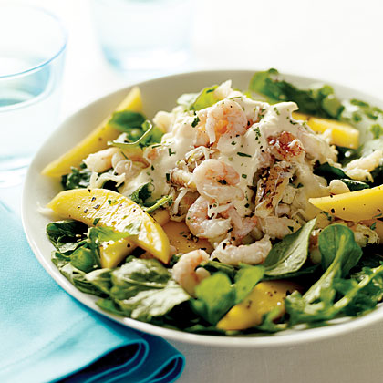 Crab, Shrimp, and Mango Salad with Yuzu Vinaigrette