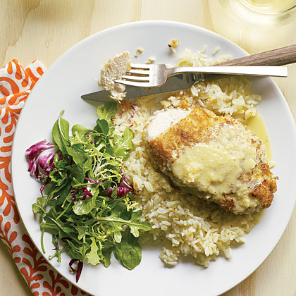 Macadamia Chicken with Orange-Ginger Sauce and Coconut Pilaf Recipe