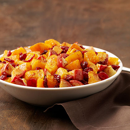 holiday butternut squash with apple and cranberries recipe