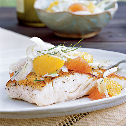Halibut with Citrus-Fennel Relish Recipe | MyRecipes