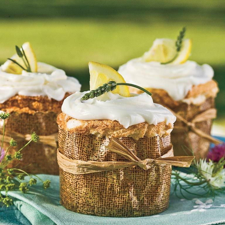 Lemon Curd-Filled Angel Food Cupcakes
