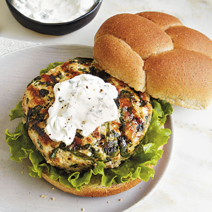 Grilled Turkey Burgers with Goat Cheese SpreadRecipe