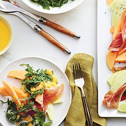 Prosciutto and Melon Salad with Cantaloupe Vinaigrette Recipe