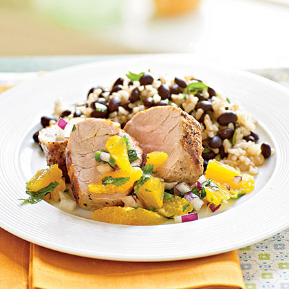<p>Roasted Pork Tenderloin with Orange and Red Onion Salsa</p>