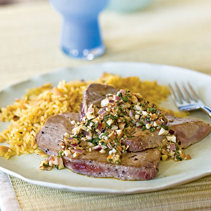 Tuna Scaloppine with Onion, Mint, and Almond Topping