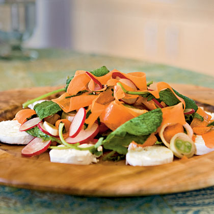 Raw Spring Vegetable Salad with Goat Cheese Recipe | MyRecipes.com