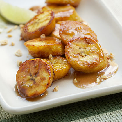 Caramelized Plantains With Honey-Peanut Sauce