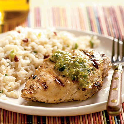 <p>Grilled Cumin Chicken with Fresh Tomatillo Sauce</p>
