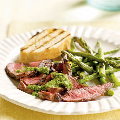Grilled Steak with Caper-Herb Sauce