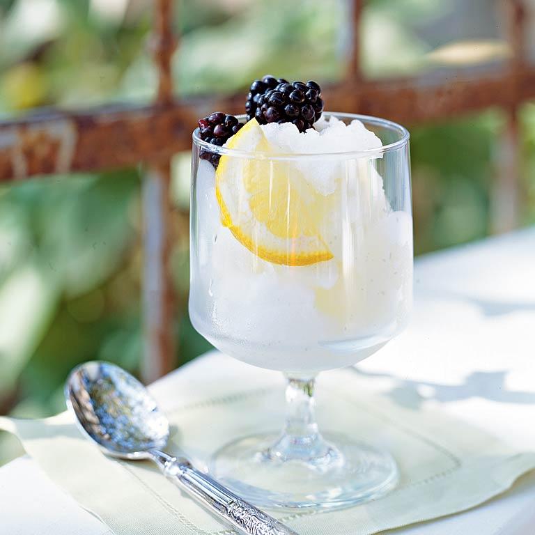 Limoncello-Mint Sorbet with Fresh Blackberries