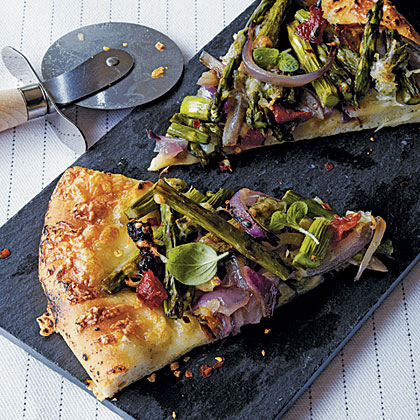 Grilled Pizza with Asparagus & Caramelized Onion Recipe ...
