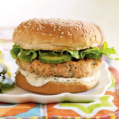 Skip the beef and serve a Mexican-inspired salmon burger topped with a fresh lime-cilantro mayonnaise sauce. Cook the salmon patties in a skillet to enjoy this hearty burger year-round. A spinach salad with a sweet, slightly spicy Asian-influenced dressing makes a tasty accompaniment.Watch the VideoFresh Salmon-Cilantro Burgers                 < Recipe