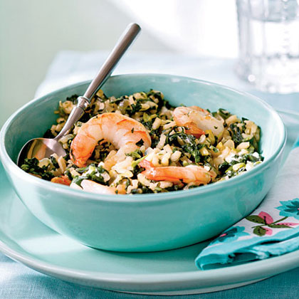 Spinach Risotto with Shrimp and Goat Cheese
