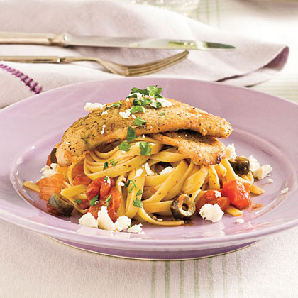 Mediterranean Turkey Cutlets and Pasta Recipe