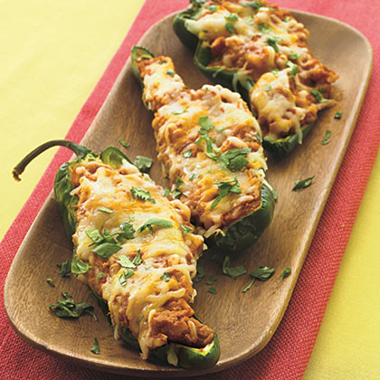 Refried Bean Poblanos with Cheese Recipe