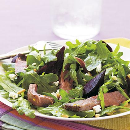 Roast Beef, Beet, and Arugula Salad with Orange Vinaigrette