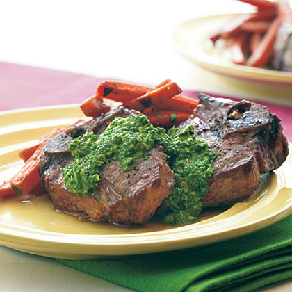 Broiled Lamb Chops with Lemon-Arugula Pesto