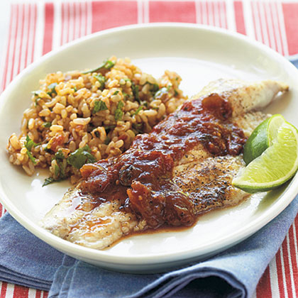Catfish with Cilantro-Chipotle Rice