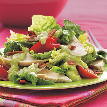 Chicken BLT Salad with Creamy Avocado–Horned Melon Dressing