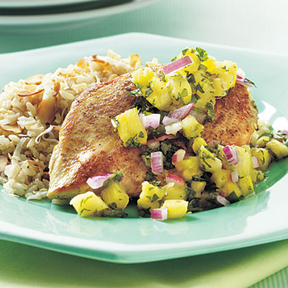 Cumin-Seared Chicken with Pineapple-Mint Salsa Recipe