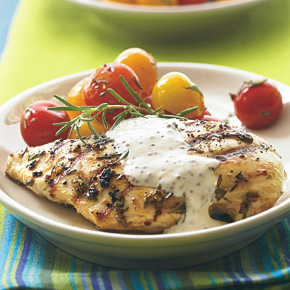 Grilled Chicken with Rustic Mustard Cream RecipeThe pronounced lemon-pine character of rosemary goes well with olive oil and Dijon mustard, giving this grilled chicken a rustic Mediterranean flair.