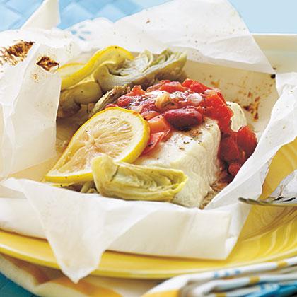 Lemon-Artichoke Halibut en Papillote