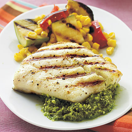 Halibut with Quick Lemon PestoRecipe