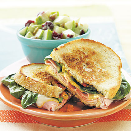 Grilled Ham, Muenster, and Spinach SandwichesRecipe