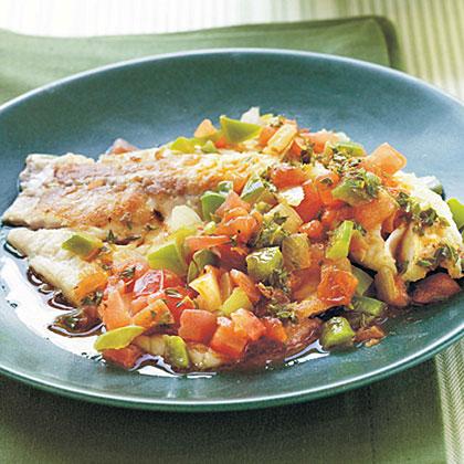 Spicy Louisiana Tilapia Fillets with Sautéed Vegetable RelishRecipe