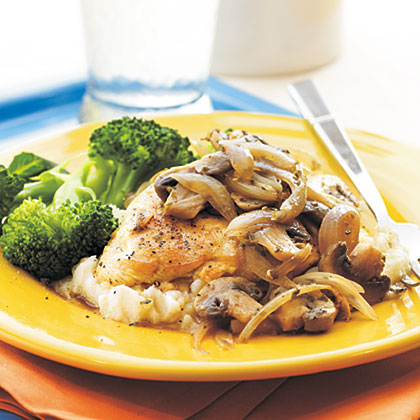 Mushroom-Herb Chicken RecipeThe delicate flavor of marjoram is ideal with the pan-cooked chicken, mushrooms and green onions in this 5-ingredient main dish. Serve with refrigerated mashed potatoes and steamed broccoli.