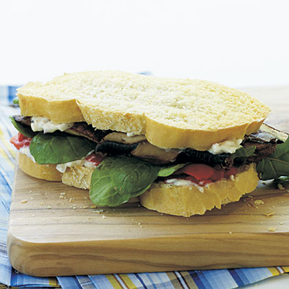 Roasted Portobello Mushroom Sandwiches with Parmesan Mayonnaise Recipe