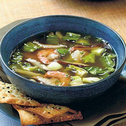 Oriental Soup with Mushrooms, Bok Choy, and ShrimpRecipe