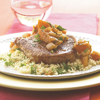 Spiced Pork Chops with Butternut SquashRecipe