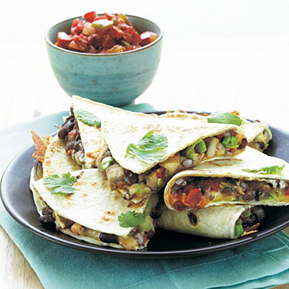Portobello and Black Bean Quesadillas Recipe