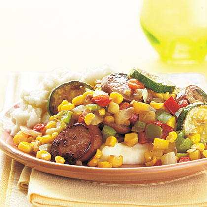 Smoked Sausage-and-Vegetable Pile-Up Recipe