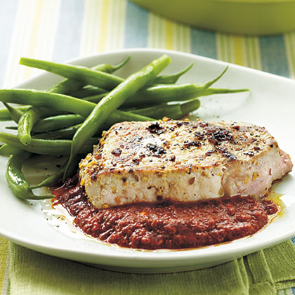 Seared Pork Chops with Spicy Roasted Pepper SauceRecipe